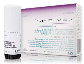 Sativex-paketti ja -suihkepullo